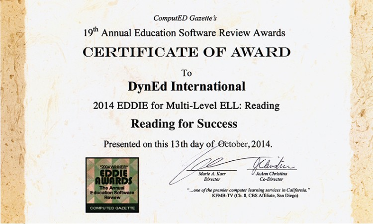 CERTIFICATE OF AWARD TO DynEd International
