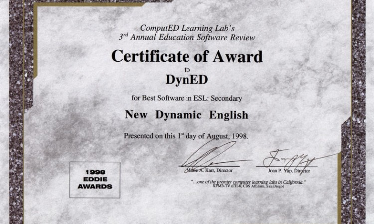 Certificate of Award to DynED